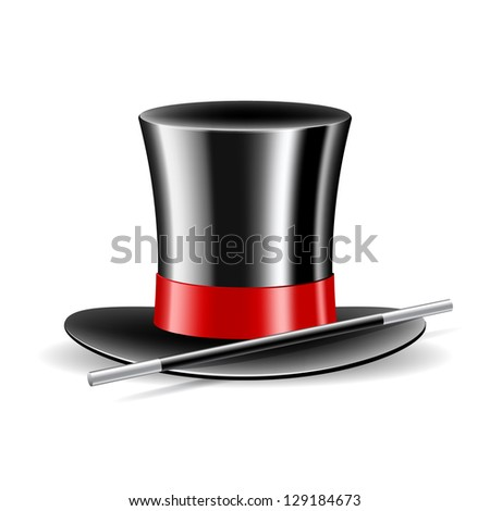 Magic hat and magic wand on white background. Vector illustration - stock vector