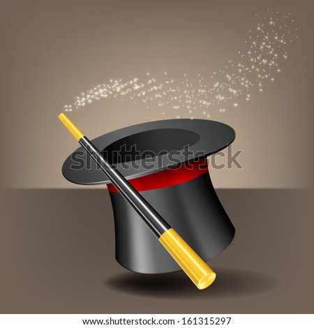 Magic hat and wand with sparkles. - stock vector