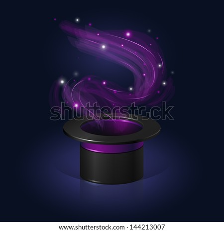 Magic hat with some magic floating around. - stock vector