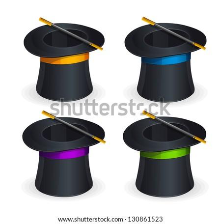 Magic hats vector set - stock vector