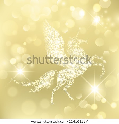 Magic Holiday Pegasus Which Grants Wishes over golden background - stock vector