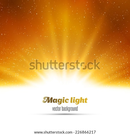 Magic light holiday background. Gold burst. Christmas background - stock vector