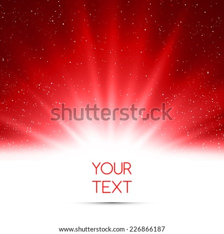 Magic light holiday background. Red burst  - stock vector