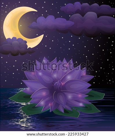 Magic lotus flower background, vector illustration - stock vector