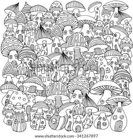 Magic mushrooms. Fantasy illustration of various mushroom. - stock vector