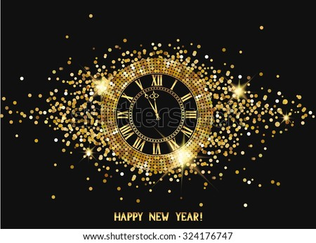 Magic new year composition with watch - stock vector