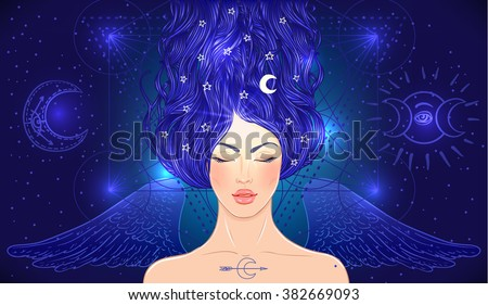 Magic night fairy. Hand drawn portrait of a beautiful  shaman woman with angel wings. Alchemy, religion, spirituality, occultism, tattoo art. Isolated vector illustration. - stock vector