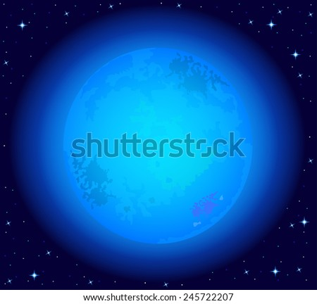 Magic night sky with a full blue moon . Vector illustration. - stock vector