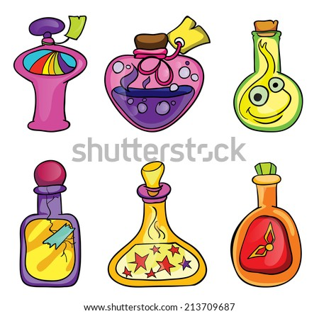 magic potions, set, vector illustration on white background - stock vector