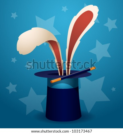 magic rabbit, vector 1 - stock vector