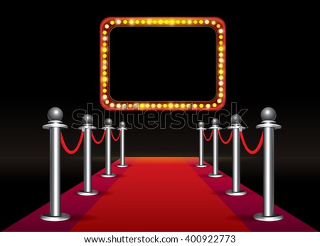 Magic red carpet loop with signboard with light bulbs on black background - stock vector