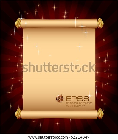 Magic scroll. Vector template. - stock vector