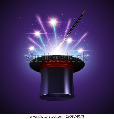 Magic show background with realistic magician hat stick and fireworks vector illustration - stock vector