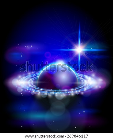 Magic Space - big star and blue planet, stars and constellations, nebulae and galaxies, lights. Vector illustration / Eps10 - stock vector