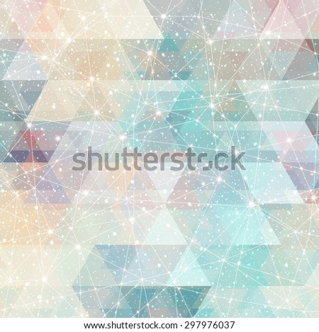 magic space constellation with stars on a background of the triangles and lights - stock vector
