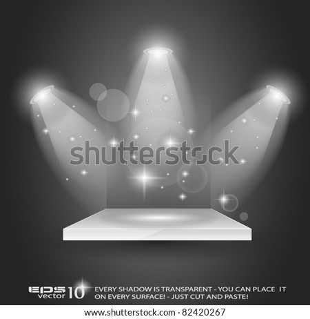 Magic Spotlights with light rays and glowing effect for people or product advertising. Every lights and shadow are transparent. - stock vector