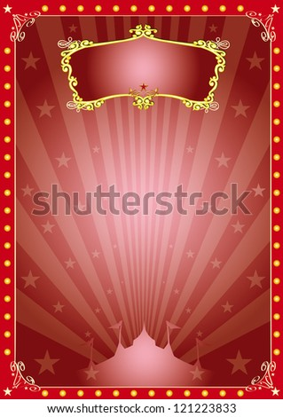 Magic star circus. A circus red vintage poster with sunbeams for your advertising. - stock vector