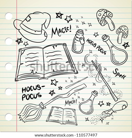 Magic stuff in doodle style - stock vector