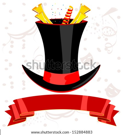 magic top-hat, red ribbon and golden tucket - stock vector