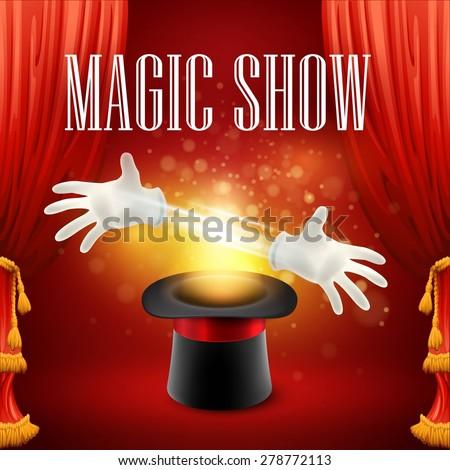 Magic trick performance, circus, show concept. Vector illustration EPS 10 - stock vector