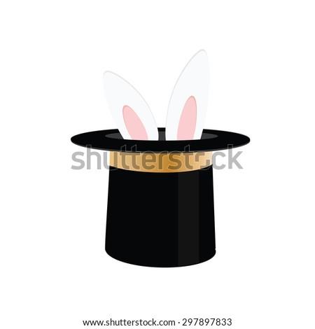 Magic trick rabbit in black hat cylinder. Top hat with rabbit. Vector illustration rabbit in magician hat - stock vector