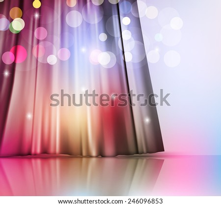 magic vector background with theatre curtain and blur - stock vector