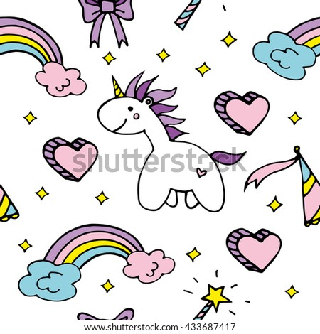 magic vector seamless pattern with unicorn, rainbow, clouds and other cute elements - stock vector