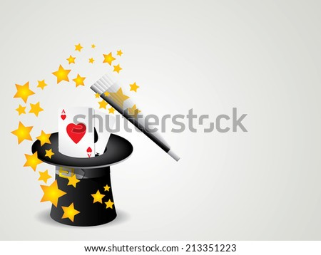 magic wand and cylinder with poker cards hat illustration - stock vector