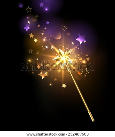magic wand decorated with gold stars on a black background - stock vector