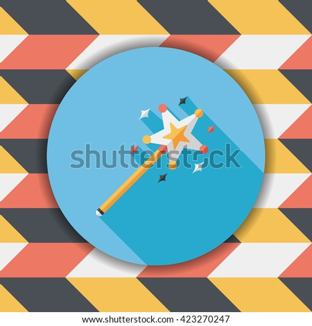 magic wand flat icon with long shadow,eps10 - stock vector