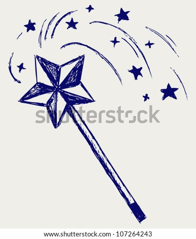 Magic wand. Sketch - stock vector