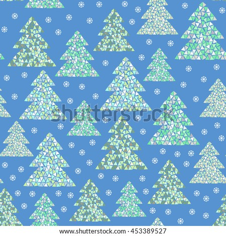Magic winter seamless pattern of colorful mosaic fir trees and snowflakes. Simple geometric Happy New Year and Christmas background. Northern wood vector illustration. - stock vector