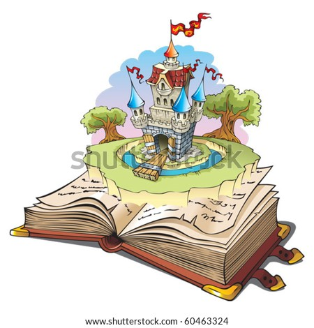 Magic world of tales, fairy castle appearing from the old book, cartoon vector illustration - stock vector