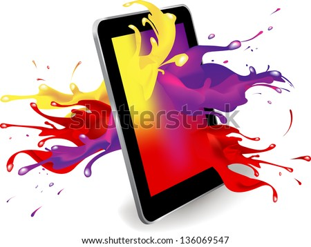 Magical color splash from tablet computer conceptual vector design .This image contains a gradient mesh. - stock vector