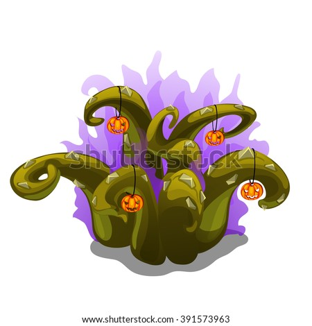 Magical plant with the green tentacles, decorated with pumpkins carved with eyes and mouths. Vector illustration. - stock vector