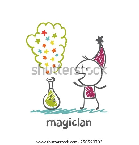 magician blows the liquid in the flask illustration - stock vector