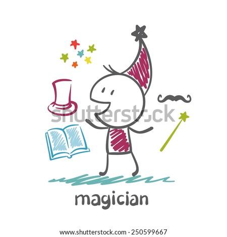 magician illustration - stock vector