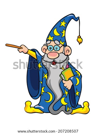 magician in the mantle and a magic wand, vector illustration on white background - stock vector