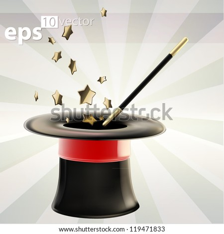 Magician's black hat with a glossy red tape and golden star magic wand inside it, eps10 vector emblem icon - stock vector