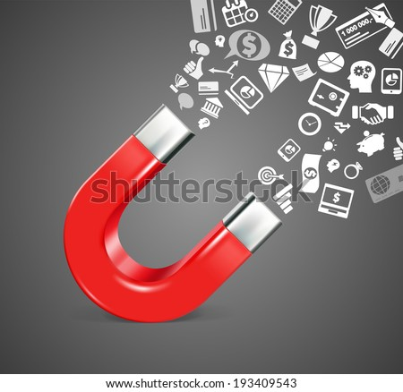 Magnet - business icons - stock vector