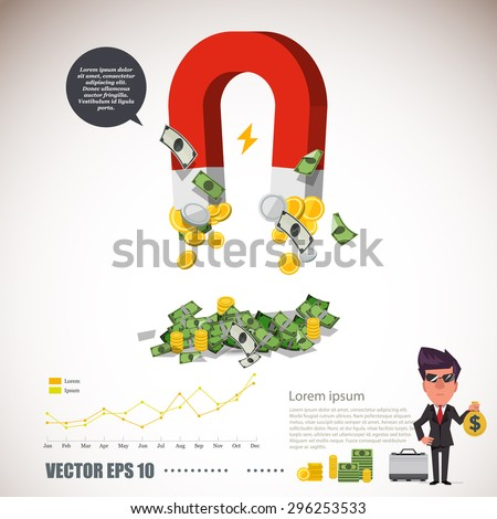 magnet collecting money with infographic. rich concept - vector illustration - stock vector