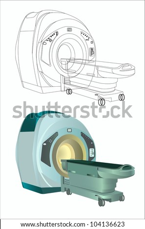 Magnetic resonance imaging with outline version isolated on white - stock vector