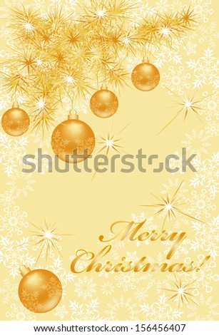 Magnificent Christmas card with gold pine branch, spheres, snowflakes and wish of Merry Christmas (eps10) - stock vector