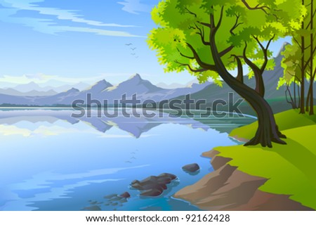 MAGNIFICENT PANORAMIC LAKE VIEW - stock vector