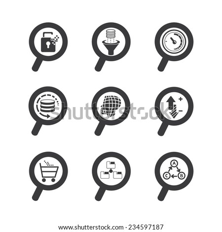 magnifier glass icons, data analytics concept - stock vector