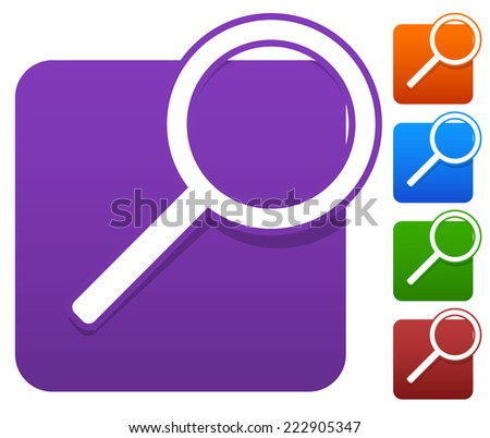 Magnifier icon set - stock vector