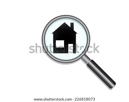 magnifier Search house - stock vector