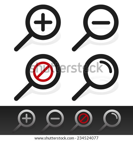 Magnifier symbol set - stock vector