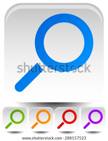 Magnifier symbols over rounded squares. (Set of multiply colors.) - stock vector