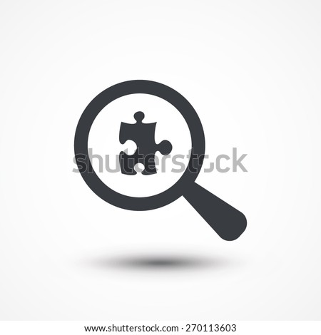 Magnify examines puzzle icon - stock vector